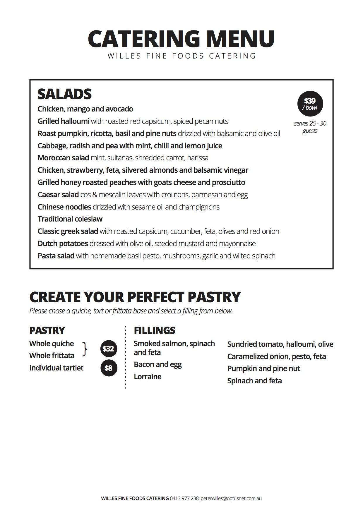 Willes Fine Foods Salads and Pastries - Brisbane Catering Menu