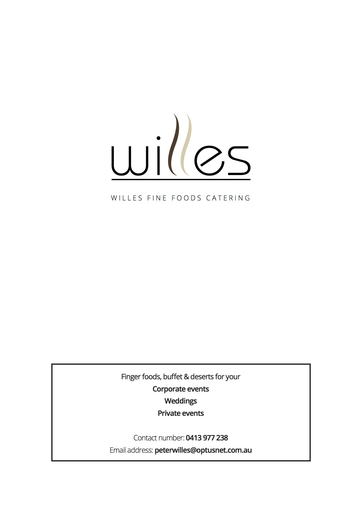 Willes Fine Foods Drinks and Food Catering Menu