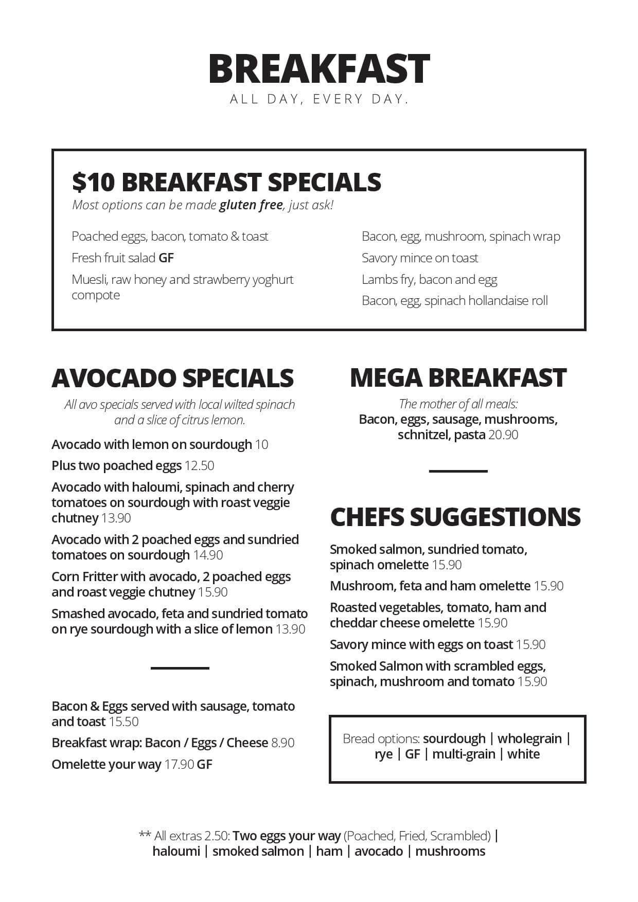 Willes Cafe Bulimba - Brisbane Breakfast Menu 1